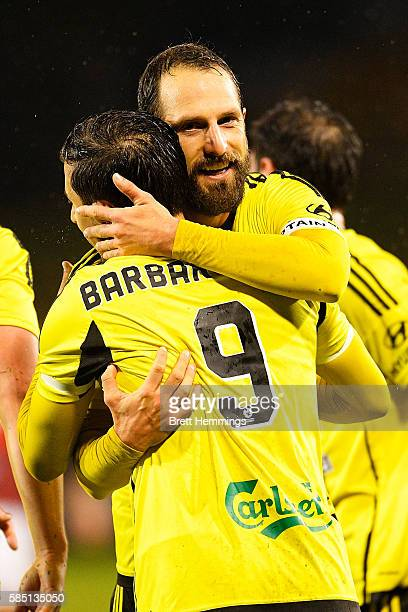 Kosta Barbarouses celebrates with Andrew Durante of the Phoenix after scoring a goal during the FFA Cup Round of 32 match between the Western Sydney...