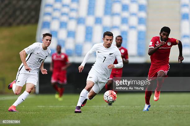 Kosta Barbarouses of New Zealand on the attack during the 2018 FIFA World Cup Qualifier match between the New Zealand All Whites and New Caledonia at...
