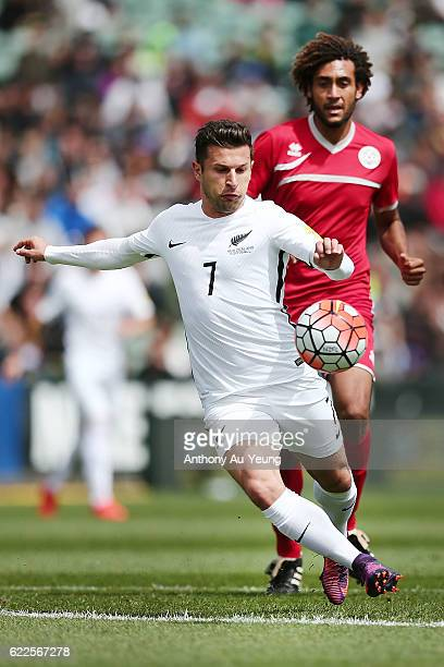 Kosta Barbarouses of New Zealand takes a shot at goal during the 2018 FIFA World Cup Qualifier match between the New Zealand All Whites and New...