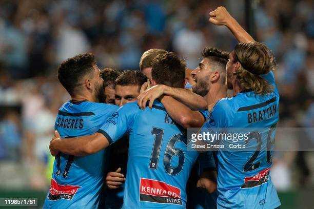Kosta Barbarouses of Sydney celebrates scoring the winning goal during the round 12 A-League match between Sydney FC and Melbourne City at Netstrata...