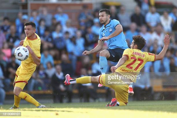 Kosta Barbarouses of Sydney FC attempts a shot at goal during the A-League match between Sydney FC and Adelaide United at Leichhardt Oval, on April...