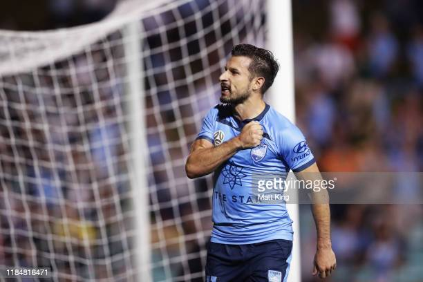 Kosta Barbarouses of Sydney FC celebrates scoring a goal during the round four ALeague match between Sydney FC and the Newcastle Jets at Leichhardt...