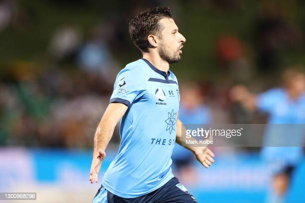 Kosta Barbarouses of Sydney FC celebrates scoring a goal during the A-League match between Sydney FC and the Wellington Phoenix at Netstrata Jubilee...