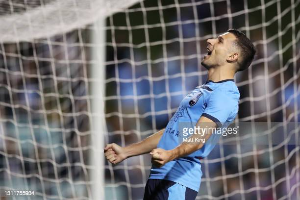 Kosta Barbarouses of Sydney FC celebrates scoring a goal during the A-League match between Sydney FC and Melbourne City FC at Leichhardt Oval, on...
