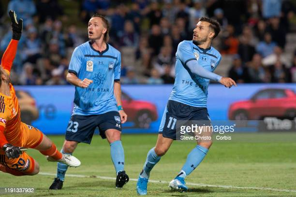 Kosta Barbarouses of Sydney FC scores a goal during the round 1 A-League match between Sydney FC and Melbourne Victory at Netstrata Jubilee Stadium...