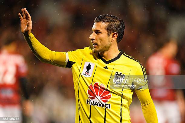 Kosta Barbarouses of the Phoenix looks on during the FFA Cup Round of 32 match between the Western Sydney Wanderers and the Wellington Phoenix at...