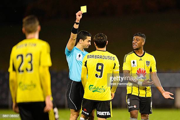 Kosta Barbarouses of the Phoenix receives a yellow card during the FFA Cup Round of 32 match between the Western Sydney Wanderers and the Wellington...