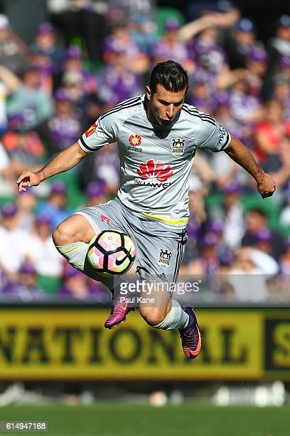 Kosta Barbarouses of the Phoenix traps the ball during the round two ALeague match between the Perth Glory and the Wellington Phoenix at nib Stadium...