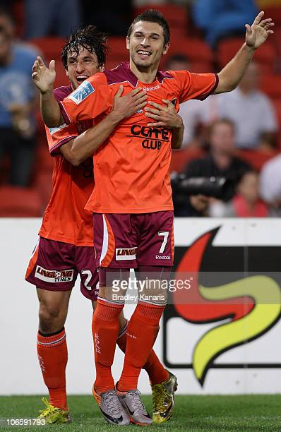 Kosta Barbarouses of the Roar celebrates after scoring a goal during the round 13 ALeague match between the Brisbane Roar and Adelaide United at...