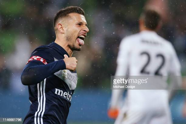 Kosta Barbarouses of the Victory celebrates a goal during the A-League Elimination Final match between Melbourne Victory and the Wellington Phoenix...
