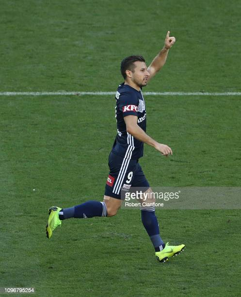 Kosta Barbarouses of the Victory celebrates after scoring a goal during the round 14 ALeague match between the Melbourne Victory and the Wellington...