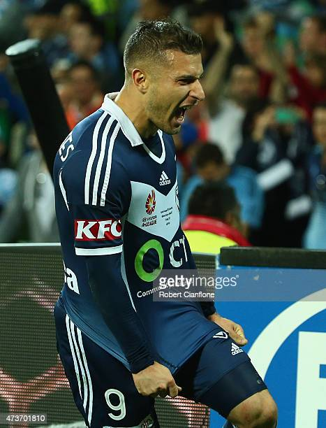 Kosta Barbarouses of the Victory celebrates after scoring a goal during the 2015 A-League Grand Final match between the Melbourne Victory and Sydney...