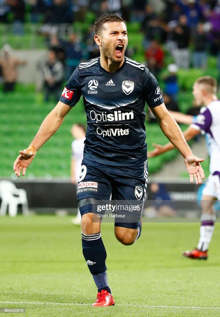 Kosta Barbarouses of the Victory celebrates after scoring his sides third and winning goal during the round 16 A-League match between the Melbourne Victory and Perth Glory at AAMI Park on January 13, 2018 in Melbourne, Australia.