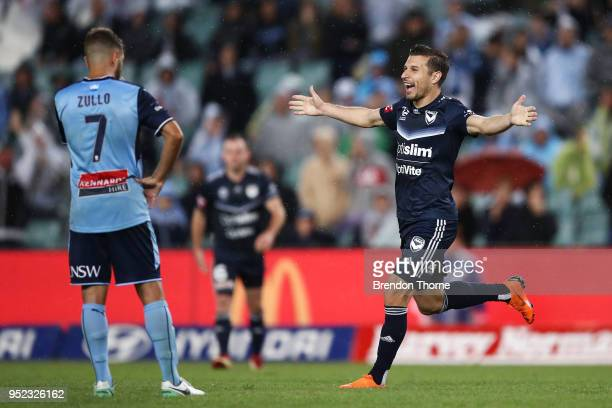 Kosta Barbarouses of the Victory celebrates at full time during the ALeague Semi Final match between Sydney FC and Melbourne Victory at Allianz...