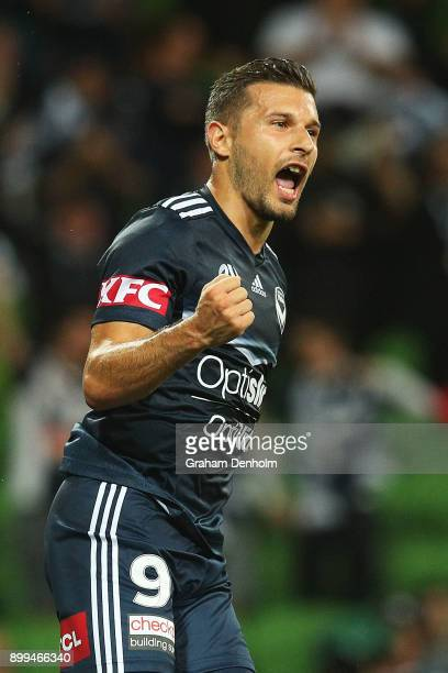 Kosta Barbarouses of the Victory celebrates his goal during the round 13 ALeague match between the Melbourne Victory and the Newcastle Jets at AAMI...