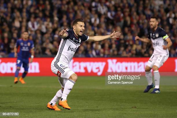 Kosta Barbarouses of the Victory celebrates kicking a goal during the 2018 ALeague Grand Final match between the Newcastle Jets and the Melbourne...