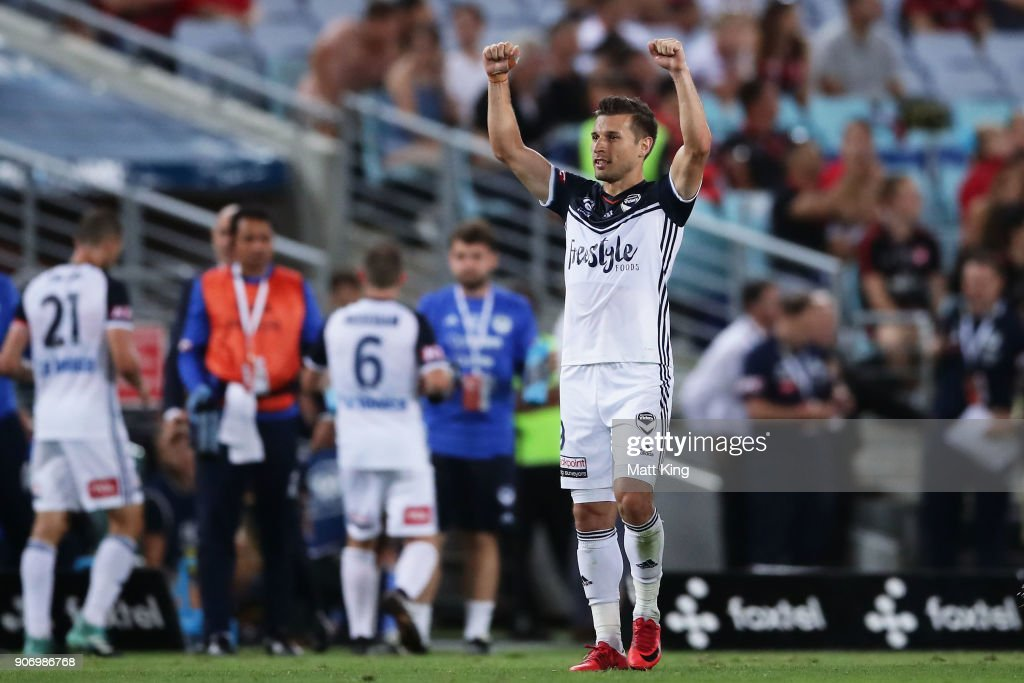 Kosta Barbarouses of the Victory celebrates scoring his second goal during the round 17 A-League match between the Western Sydney Wanderers and the Melbourne Victory at ANZ Stadium on January 19, 2018 in Sydney, Australia.