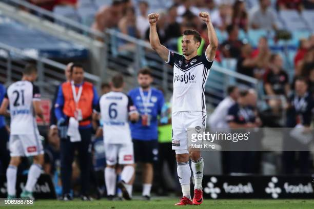 Kosta Barbarouses of the Victory celebrates scoring his second goal during the round 17 ALeague match between the Western Sydney Wanderers and the...
