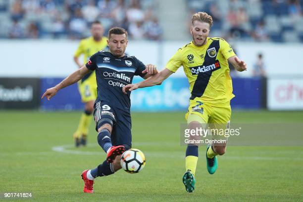 Kosta Barbarouses of the Victory controls the ball during the round 14 ALeague match between the Melbourne Victory and the Central Coast Mariners at...