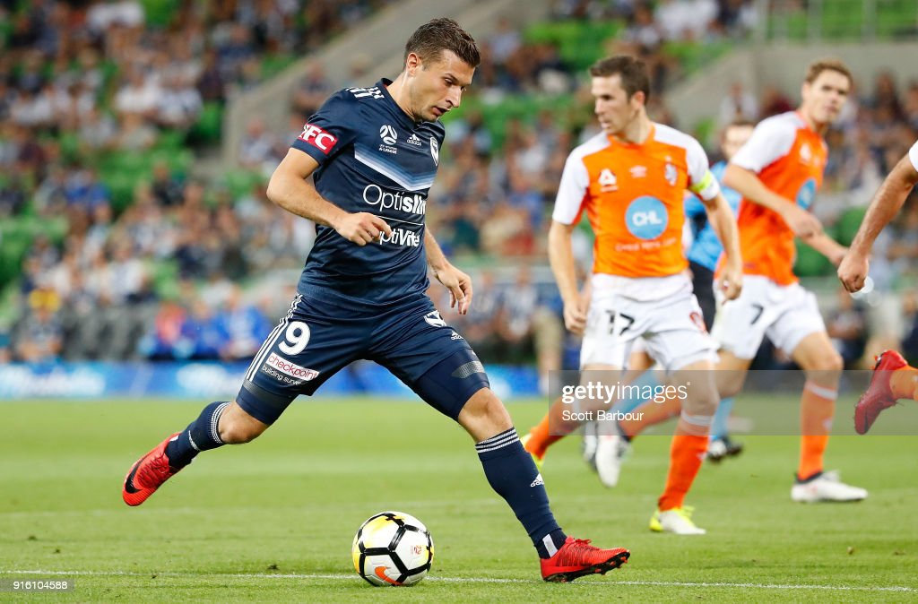 Kosta Barbarouses of the Victory controls the ball during the round 20 A-League match between the Melbourne Victory and the Brisbane Roar at AAMI Park on February 9, 2018 in Melbourne, Australia.