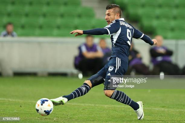 Kosta Barbarouses of the Victory kicks a goal during the AFC Asian Champions League match between the Melbourne Victory and Yokohama F Marinos at...