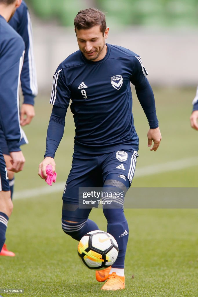 Kosta Barbarouses of the Victory kicks the ball during a Melbourne Victory training session at AAMI Park on April 17, 2018 in Melbourne, Australia.