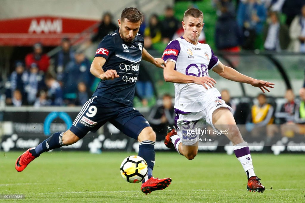 Kosta Barbarouses of the Victory shoots and scores his sides third and winning goal during the round 16 A-League match between the Melbourne Victory and Perth Glory at AAMI Park on January 13, 2018 in Melbourne, Australia.