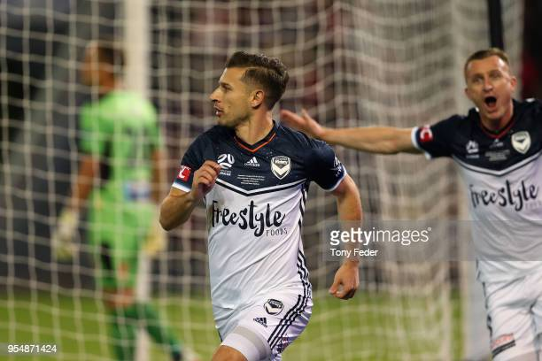 Kosta Barbarouses of Victory celebrates a goal during the 2018 ALeague Grand Final match between the Newcastle Jets and the Melbourne Victory at...