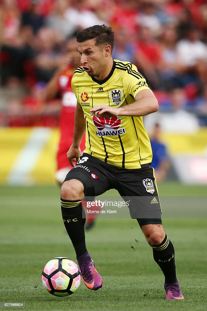 Kosta Barbarouses of Wellington Phoenix runs with the ball during the round nine A-League match between Adelaide United and the Wellington Phoenix at Coopers Stadium on December 4, 2016 in Adelaide, Australia.