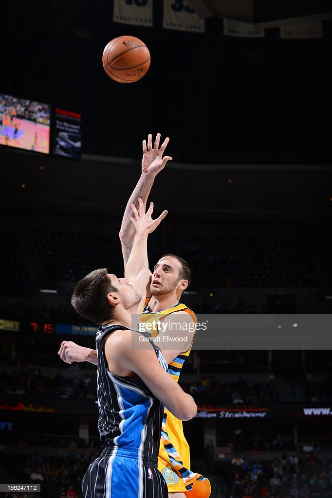 Kosta Koufos #41 of the Denver Nuggets shoots against the Orlando Magic on January 9, 2013 at the Pepsi Center in Denver, Colorado.