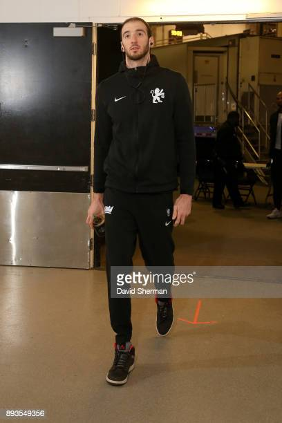 Kosta Koufos of the Sacramento Kings arrives at the stadium before the game against the Minnesota Timberwolves on December 14 2017 at Target Center...