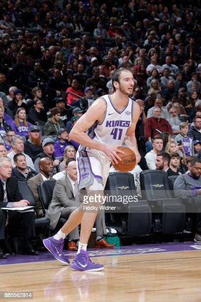 Kosta Koufos of the Sacramento Kings handles the ball against the Milwaukee Bucks on November 28 2017 at Golden 1 Center in Sacramento California...