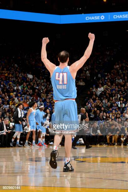 Kosta Koufos of the Sacramento Kings reacts during the game against the Golden State Warriors on March 16 2018 at ORACLE Arena in Oakland California...
