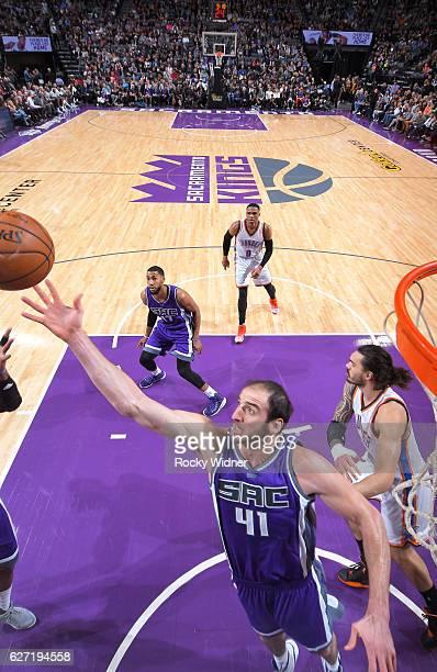 Kosta Koufos of the Sacramento Kings rebounds against the Oklahoma City Thunder on November 23, 2016 at Golden 1 Center in Sacramento, California....