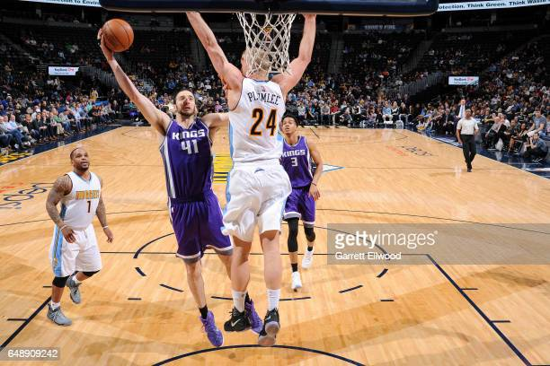 Kosta Koufos of the Sacramento Kings shoots a lay up during the game against the Denver Nuggets on March 6 2017 at the Pepsi Center in Denver...