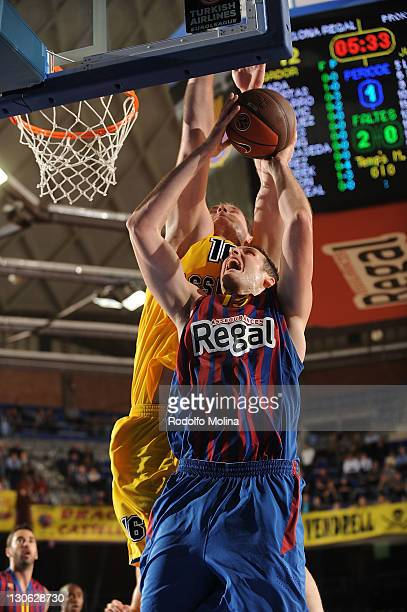 Kosta Perovic, #13 of FC Barcelona Regal in action during the 2011-2012 Turkish Airlines Euroleague Regular Season Game Day 2 between FC Barcelona...