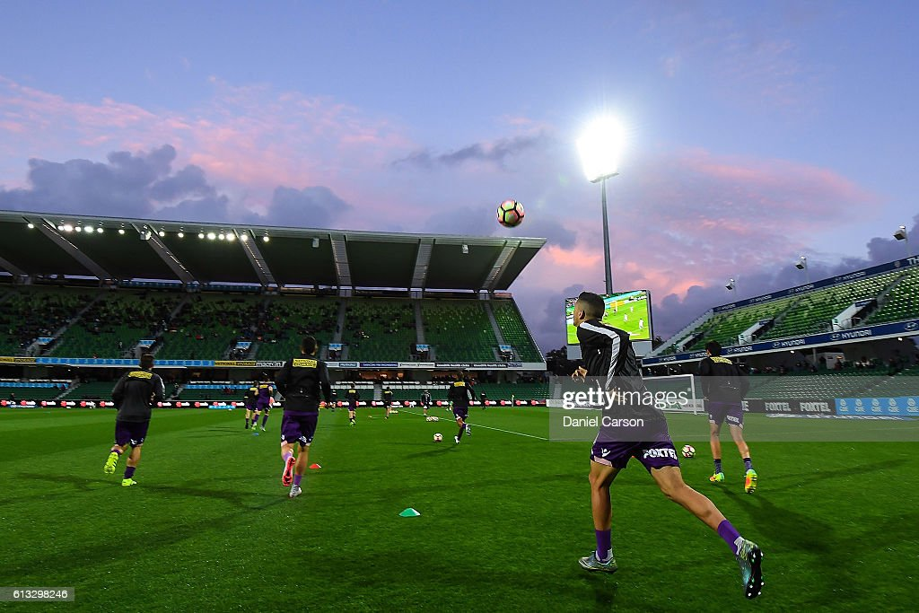 Kosta Petratos of the Perth Glory enters the arena to warm up during the round one A-League match between the Perth Glory and the Central Coast Mariners at nib Stadium on October 8, 2016 in Perth, Australia.