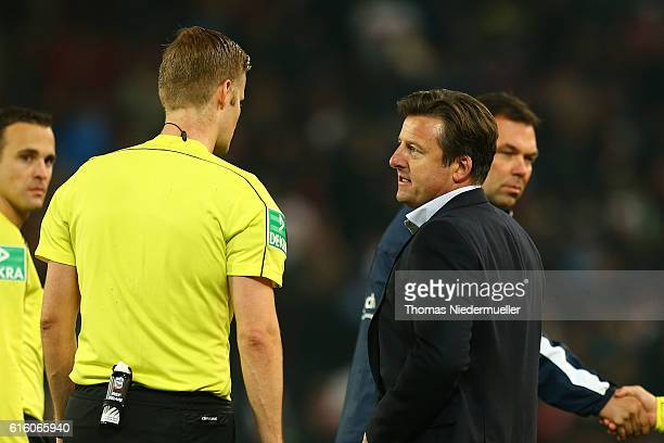 Kosta Runjaic head coach of Muenchen talks to referee Arne Aarnink during the Second Bundesliga match between VfB Stuttgart and TSV 1860 Muenchen at...