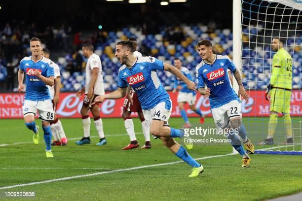 Kostantinos Manolas Arkadiusz MIlik and Giovanni Di Lorenzo of SSC Napoli celebrate the 10 goal scored by Kostantinos Manolas during the Serie A...