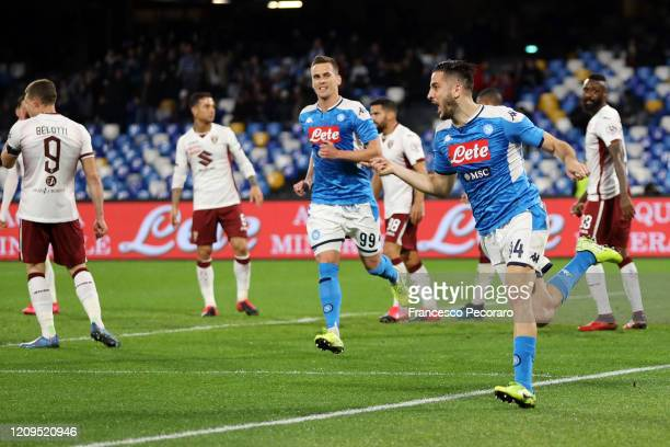 Kostantinos Manolas of SSC Napoli celebrates after scoring the 10 goal during the Serie A match between SSC Napoli and Torino FC at Stadio San Paolo...