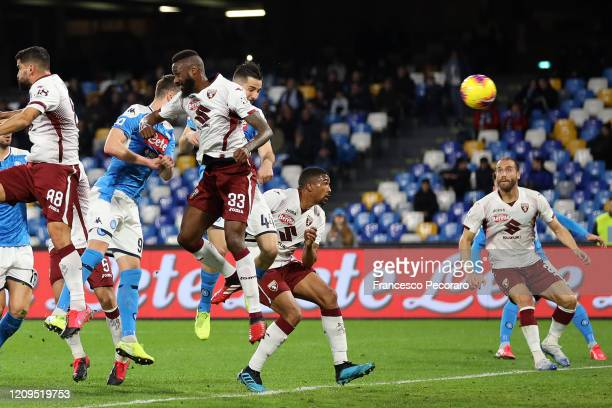Kostantinos Manolas of SSC Napoli scores the 10 goal during the Serie A match between SSC Napoli and Torino FC at Stadio San Paolo on February 29...