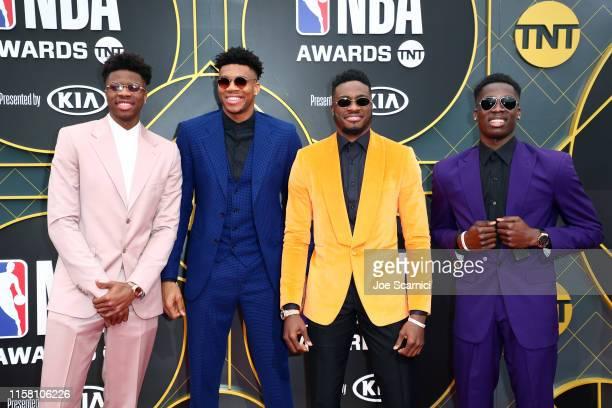 Kostas Antetokounmpo Giannis Antetokounmpo Thanasis Antetokounmpo and Alexis Antetokounmpo attend the 2019 NBA Awards presented by Kia on TNT at...