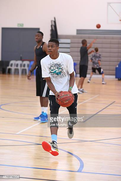 Kostas Antetokounmpo goes through some drill during a workout prior to the Basketball Without Boarders program on July 28 2015 at the American...