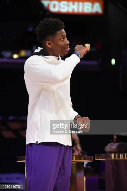 Kostas Antetokounmpo of the Los Angeles Lakers reacts as he gets his 2019-20 NBA Championship ring during the ring ceremony before the game against...