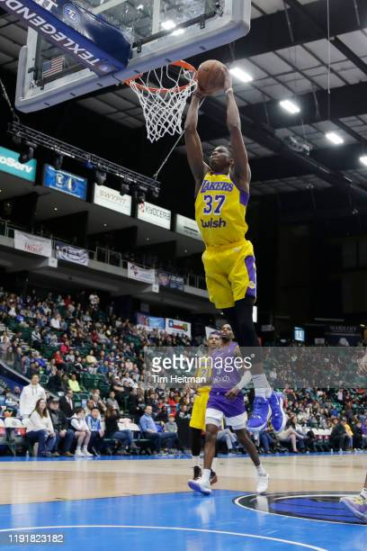 Kostas Antetokounmpo of the South Bay Lakers dunks in the second quarter against the Texas Legends on January 04, 2020 at Comerica Center in Frisco,...