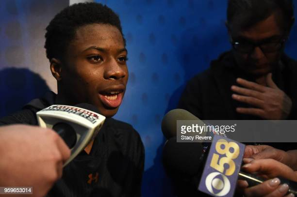 Kostas Antetokounmpo speaks with reporters during Day One of the NBA Draft Combine at Quest MultiSport Complex on May 17 2018 in Chicago Illinois...