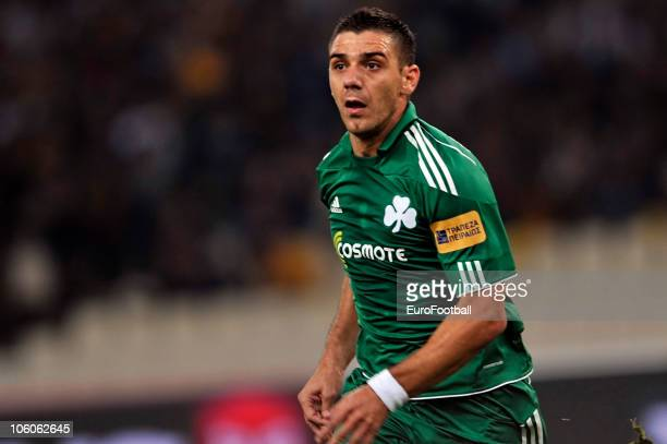 Kostas Katsouranis of Panathinaikos FC in action during the Greek Super League match against AEK Athens at the Olympic Stadium on October 24 2010 in...