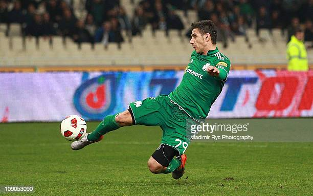 Kostas Katsouranis of Panathinaikos scores his team's first goal during the Super League match between Panathinaikos and AEK at OAKA stadium on...