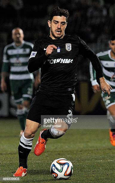 Kostas Katsouranis of PAOK in action during the Greek Superleague between Panathinaikos and PAOK at the Apostolos Nikolaidis Stadium on February 9...