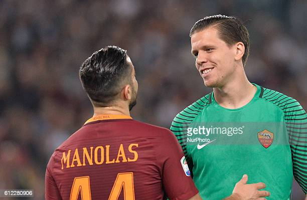 Kostas Manolas and Wojciech Szczesny during the Italian Serie A football match between AS Roma and FC Inter at the Olympic Stadium in Rome on october...